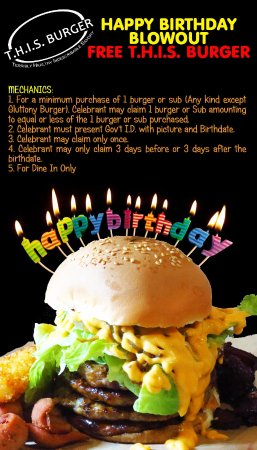 Miraculous Birthday Promo Picture Of This Burger Las Pinas Tripadvisor Funny Birthday Cards Online Aeocydamsfinfo
