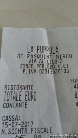 Perledo, Italy: conto comprovante la visita