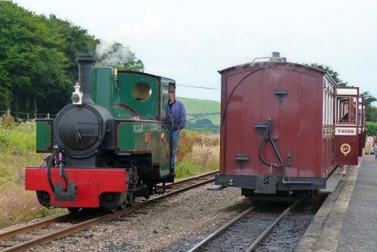 "Parracombe, UK: Line currently terminates at Killington Lane. Loco ""Axe"" seen here, running round its train."