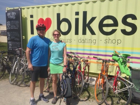 I Heart Bikes: Gary and Patty after tour at the Waterfront starting and ending point