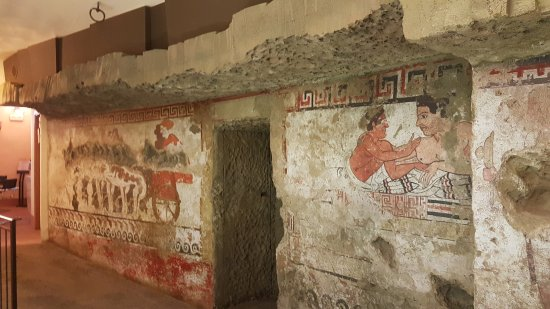 Sarteano, Italia: replica of wall paintings recently discovered