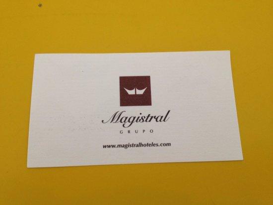 reverso tarjeta de Exe Hotel El Magistral