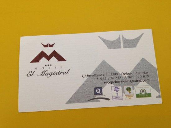 anverso tarjeta de Exe Hotel El Magistral