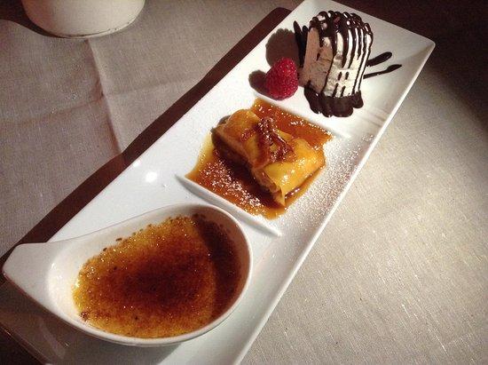 Le Jardin de Russie: Crêpe all'arancia, Crema caramellata alle bacche di vaniglia, Semifreddo al torroncino