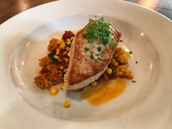 Leonardtown, MD: Swordfish with chorizo and saffron couscous