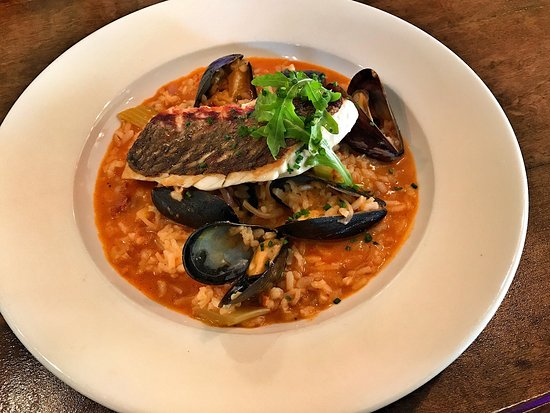 Leonardtown, MD: Red drum filet with 'dirty risotto' of mussels and chorizo