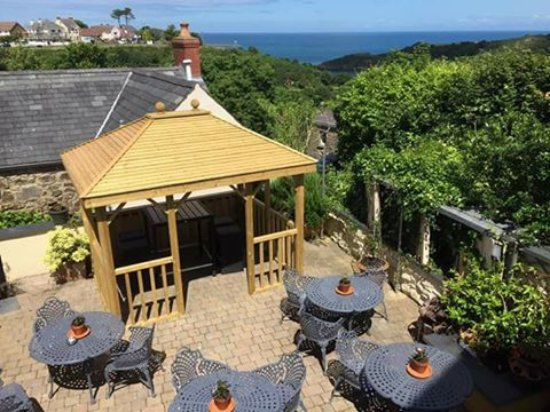 Fishguard, UK: View of the terrace from our balcony.
