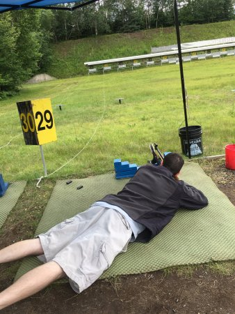 Bobsled and Luge Complex: Looking downrange to try to hit a target at the biathlete shooting