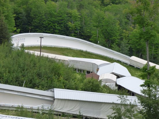 Bobsled and Luge Complex: A look at the winter bobsled track as seen from the bus tour