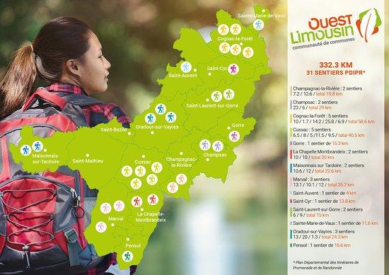 Oradour-sur-Vayres, Frankrijk: Circuits de randonnée en Ouest Limousin