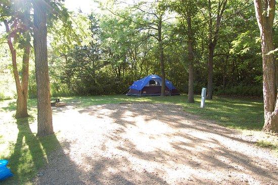 Brandon, SD: 38E. Campsite includes firepit and picnic table.
