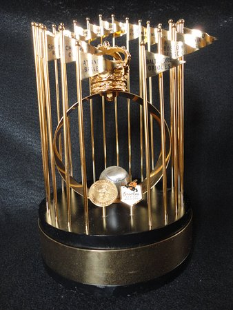 MLB World Series trophy, designed and made by the L.G. Balfour Company of Attleboro.
