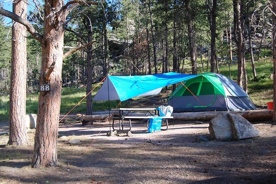 Horse Thief Campground and RV Resort: Even though the site is on a hill, the tent area had been leveled.