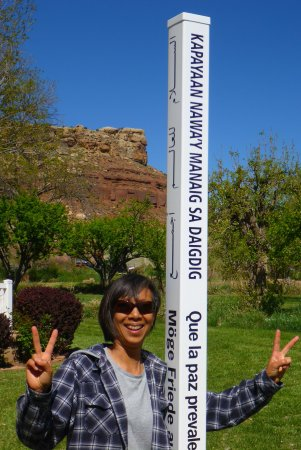 2 Cranes Inn - Zion : Our peace pole, with 8 languages  (including braille!) is part of the global peace pole project.