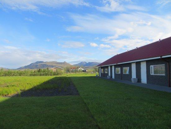 Borgarnes, Island: Exterior shot of one side of Hotel Rjukandi