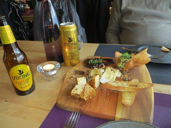 Borgarnes, Island: Gourmet Cheese n Bread App. before dinner