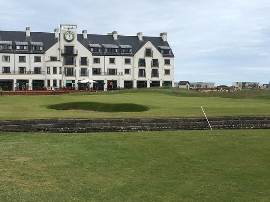 Famous #18 and the Carnoustie Golf Hotel - site of next year's Open