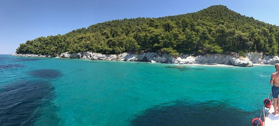 Cidade de Skiathos, Grécia: Incredible moment with dolphins and spectacular view on the beach that we visited!!!