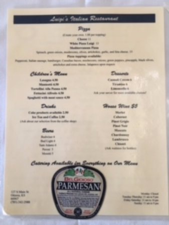 Ottawa, KS: Reverse Side Menu