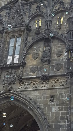 Obecní Dům: Powder Tower, entrance to the Old City of Prague - made more whimsical with bubbles!
