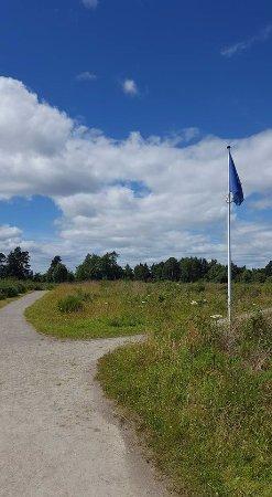 Culloden Battlefield: Jacobite flag on the battlefield