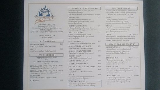 Dunnville, Canada: TOWNE CAFE & Bake Shoppe front Menu