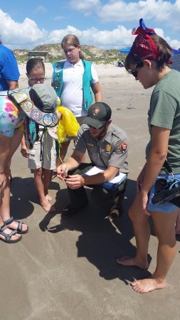 Padre Island National Seashore: Park Ranger on a beach walk. Learn something while your enjoying the sun.