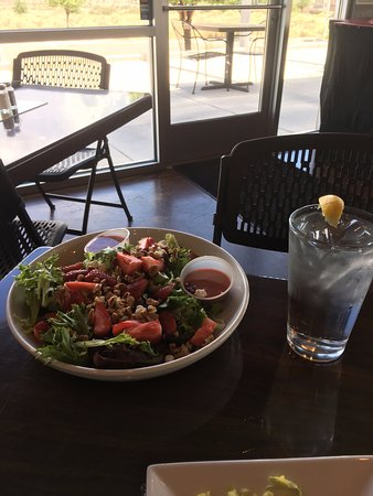 The Point Grill: Strawberry Almond Salad with Champagne vinaigrette dressing