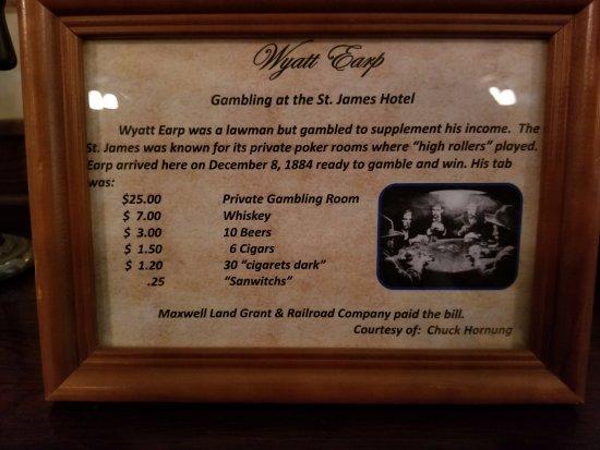 Express St. James Hotel: Wyatt Earps Private Gambling Bill