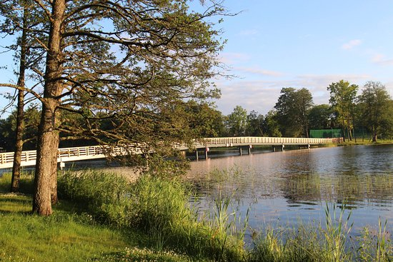 the singing bridge - leading from an island in Aluksne lake to the Temple Hill