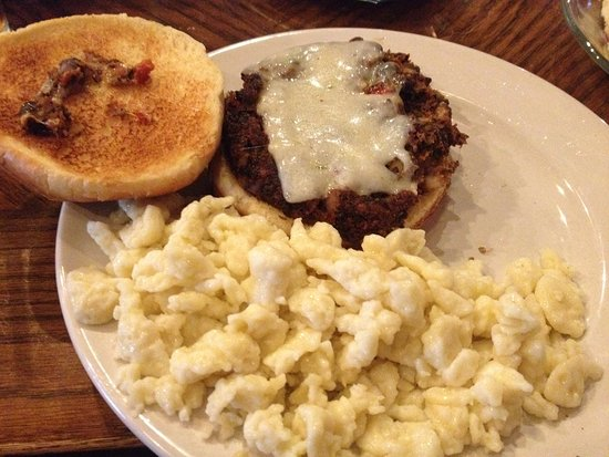 Oregon, OH: in house made black bean burger and spaetzle!