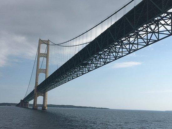 Mackinaw City, MI: Going under the bridge!