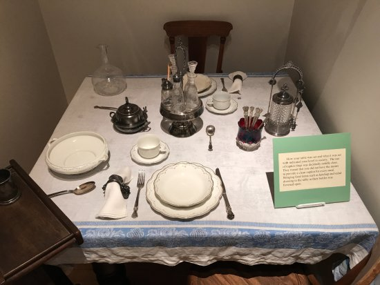Platteville, WI: A table set for a middle-class dining room