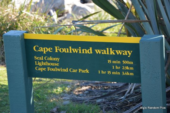 Westport, New Zealand: Distances at Cape Foulwind Walkway.