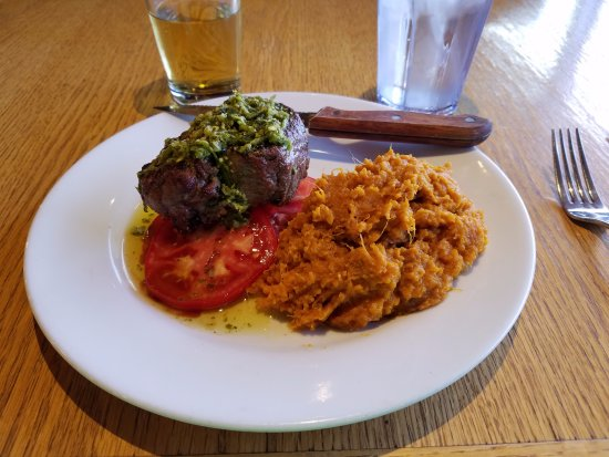 Spearfish, SD: Petite Fillet on fresh tomatoes, mashed sweet potatoes, Ace Cider