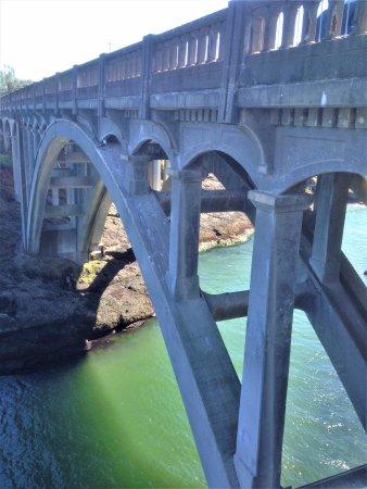 Depoe Bay, OR: Bridge over waterway into Depot Bay, Oregon