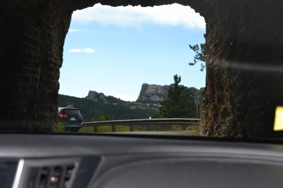 Custer State Park: Horrible pic coming out of tunnel and seeing Mt. Rushmore