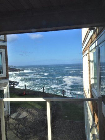 Depoe Bay, OR: View from the deck of the Bedroom with external entry door