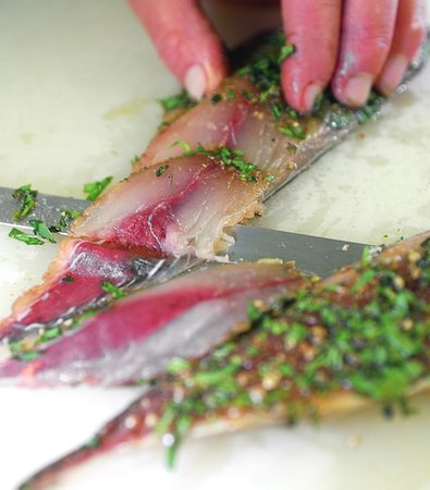 Virginstow, UK: Gravad mackerel