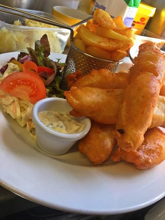 Newtownards, UK: Chicken goujons with chunky, twice cooked chips