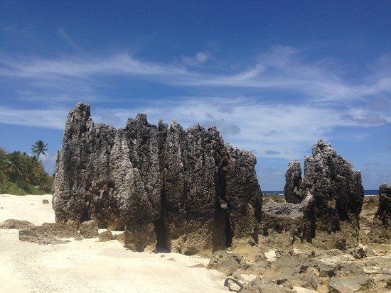"Nauru: A cluster of tall ""pinnacles"" coral rocks"