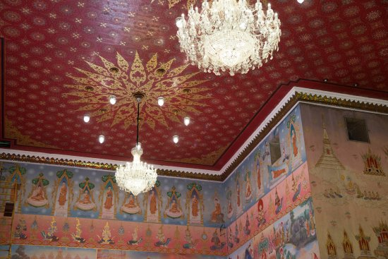 Nong Khai, Thailand: Interior view of the temple, some ceiling and wall