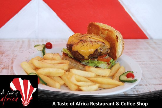 Colchester, South Africa: Delicious beef burger with chips