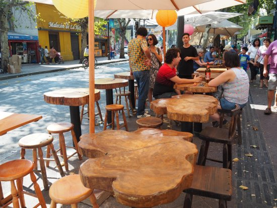 One of many street cafés near Hostal Providencia.