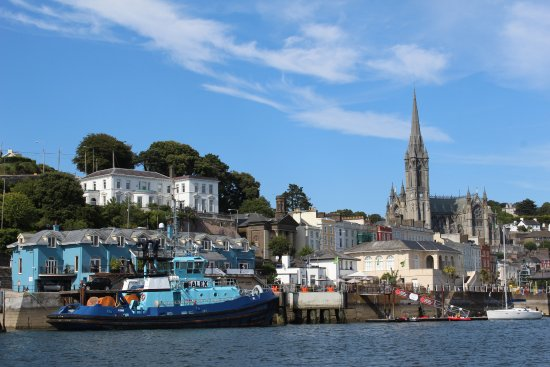 Cobh, Ireland: View of cathedral from the boat