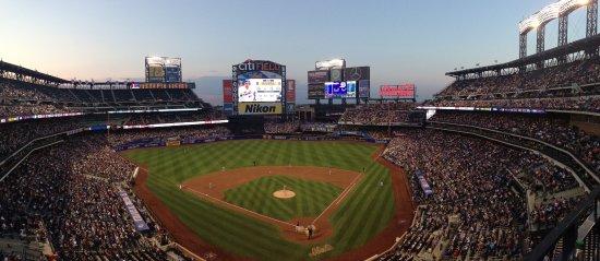 Flushing, NY: Panoramic view of Citi Field at dusk, Cardinals vs. Mets