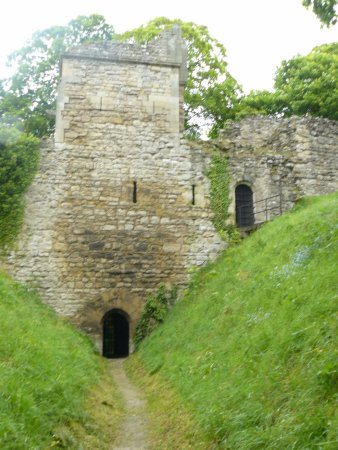 Pickering Castle : View along Motte ditch to Rosemunds Tower & Postern Gate