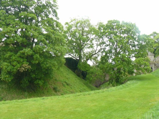 Pickering Castle : Motte Ditch with Rosemunds Tower in background