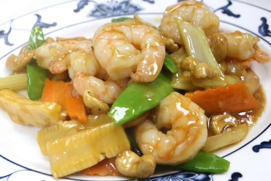 Kidlington, UK: king prawn with cashew style