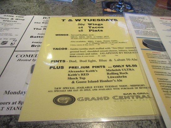 Grand Central Restaurant Niagara Falls Menu